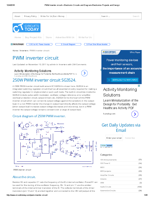 pdf) pwm inverter circuit electronic circuits and diagramInverter Circuit Diagram Using Pwm Chip Sg3524 Electronics Circuits #15
