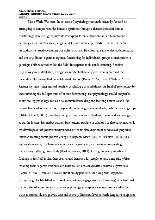 doc wellbeing motivation  performance essay what is positive  docx