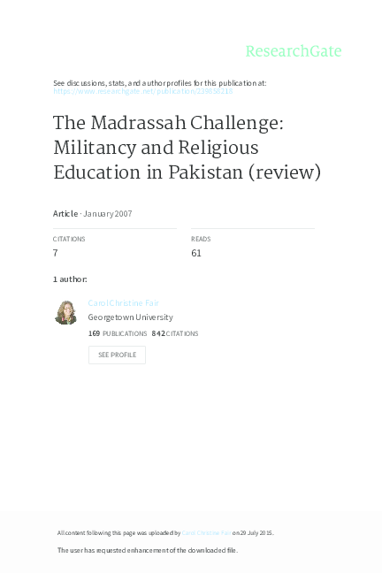 PDF) The Madrassah Challenge: Militancy and Religious
