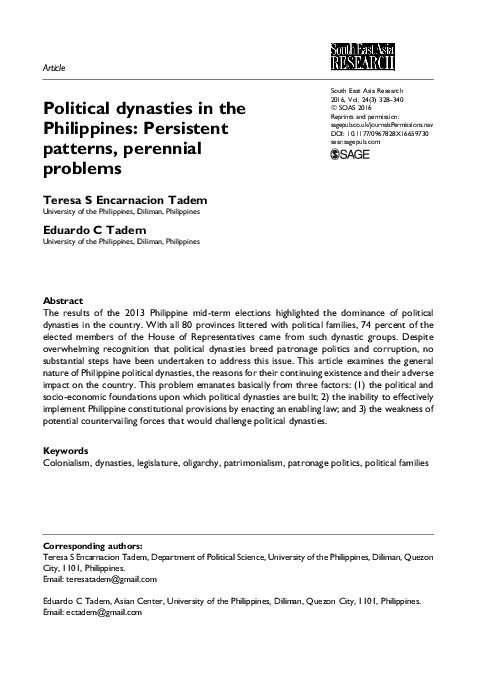 PDF) Political dynasties in the Philippines: Persistent