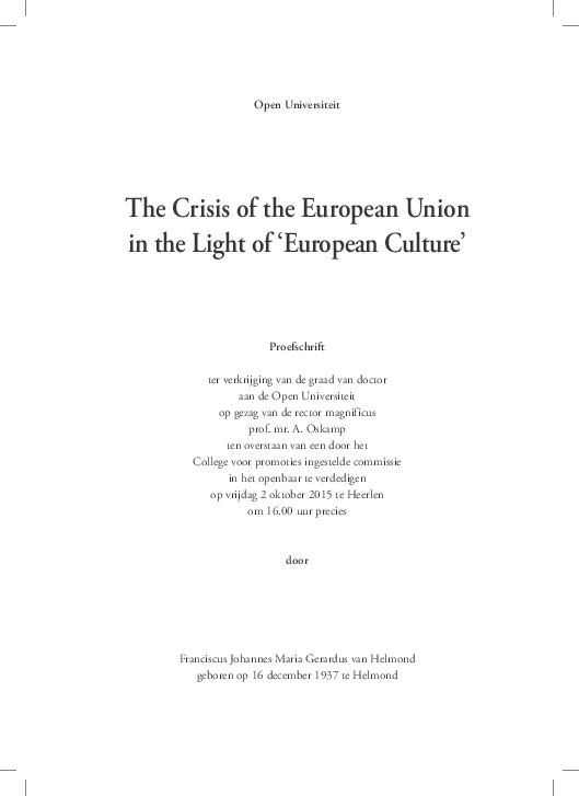 Pdf The Crisis Of The European Union In The Light Of