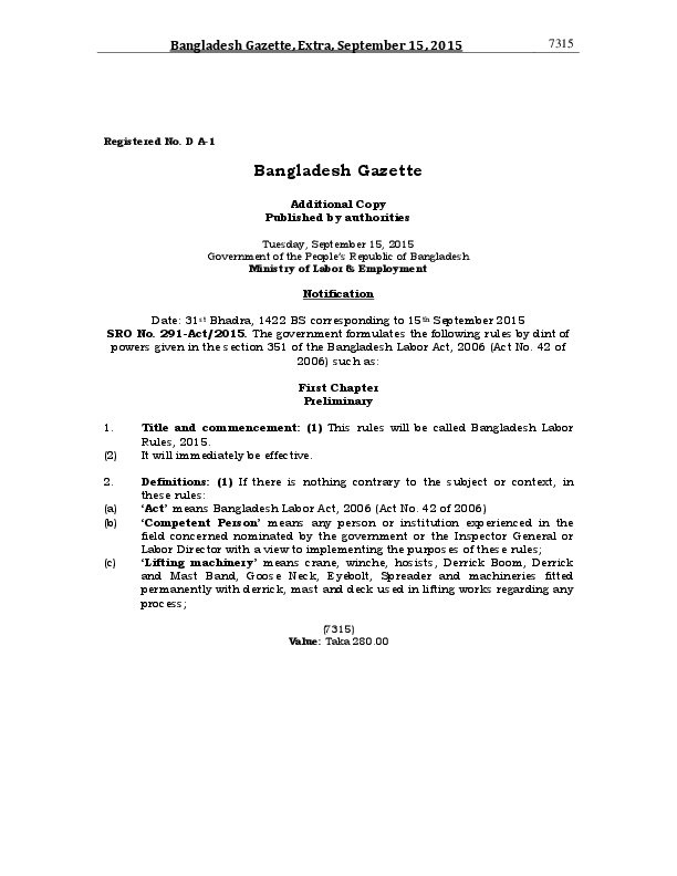 Bangladesh Labour Rules 2015 published - OGR Legal