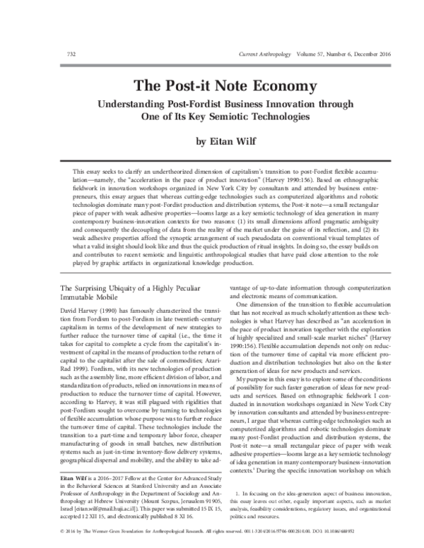 Pdf The Post It Note Economy Understanding Post Fordist Business Innovation Through One Of Its Key Semiotic Technologies Eitan Wilf Academia Edu
