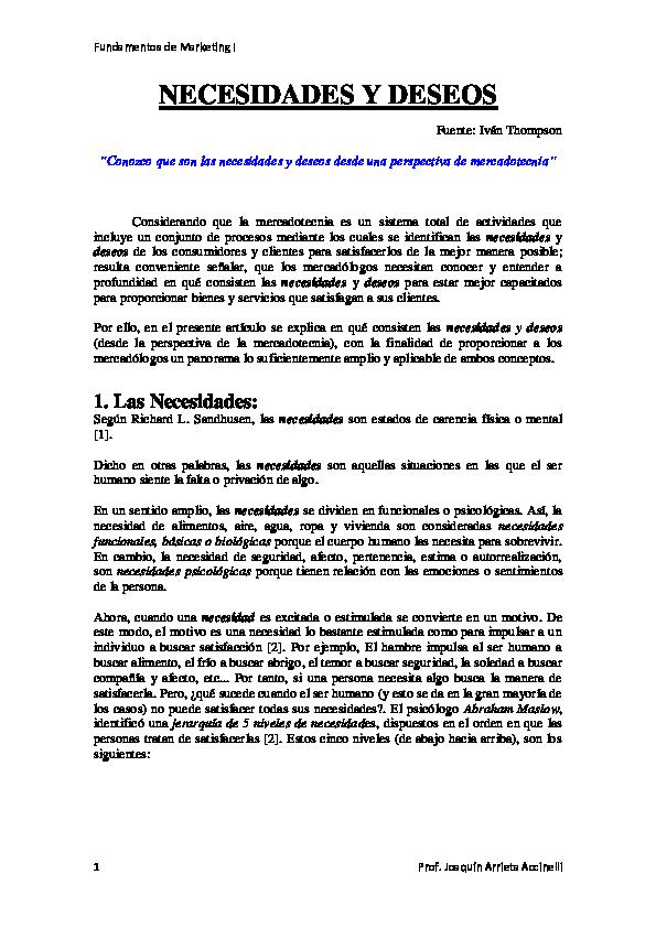 PDF) NECESIDADES Y DESEOS | Stefany M  Guevara - Academia edu