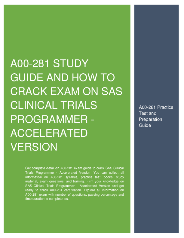 A00 281 Study Guide And How To Crack Exam On Sas Clinical Trials