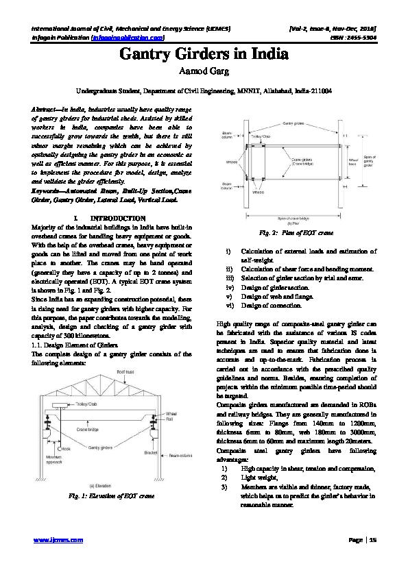PDF) Gantry Girders in India   IJCMES EDITOR - Academia edu