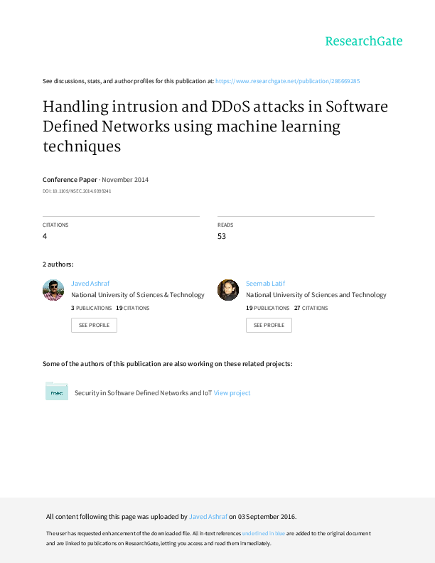 PDF) Handling Intrusion and DDoS Attacks in Software Defined