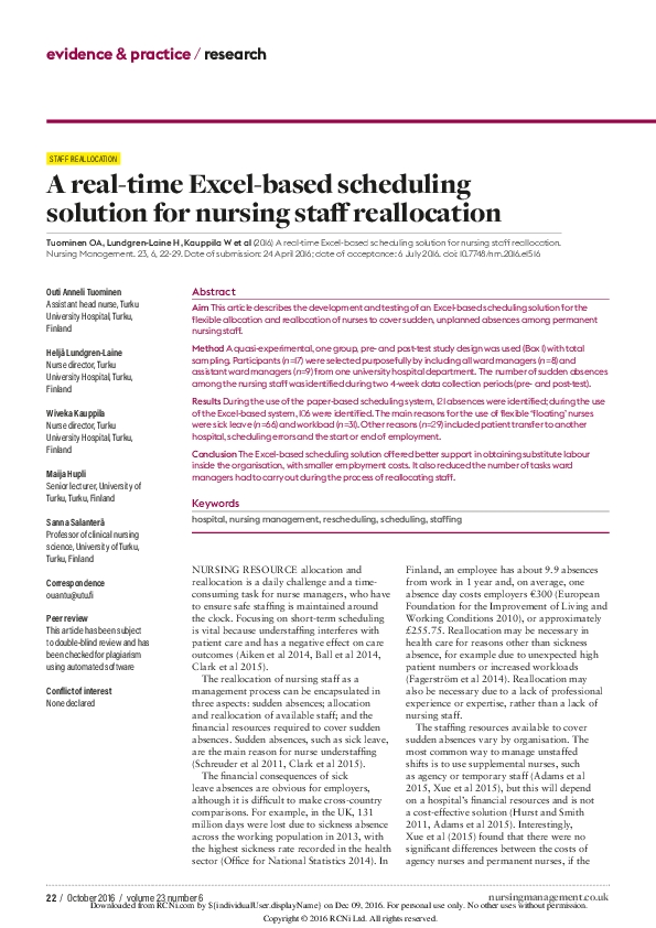 PDF) A real-time Excel-based scheduling solution for nursing staff