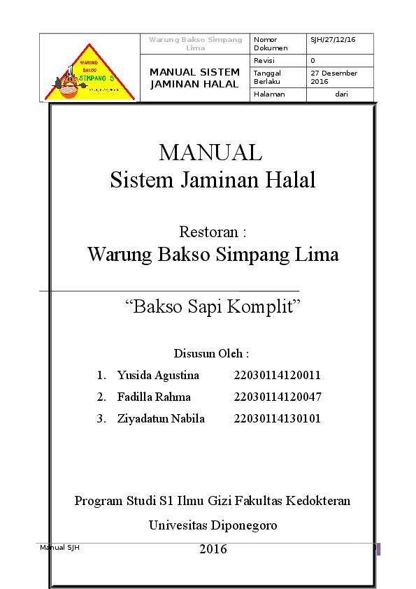 Doc Contoh Sjh Warung Bakso Fadilla Rahma Academia Edu