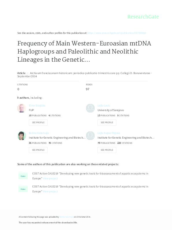 PDF) Frequency of main western-Euroasian mtDNA haplogroups