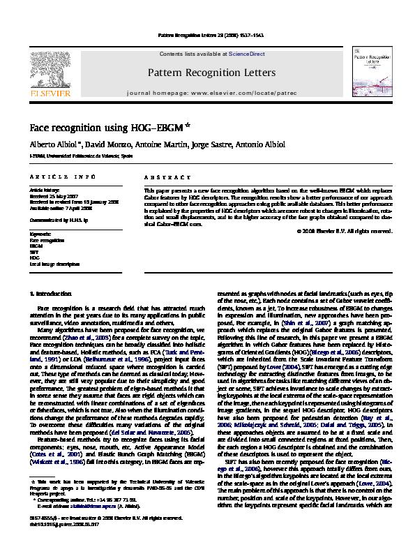 PDF) Face recognition using HOG–EBGM   Darshan Udawant