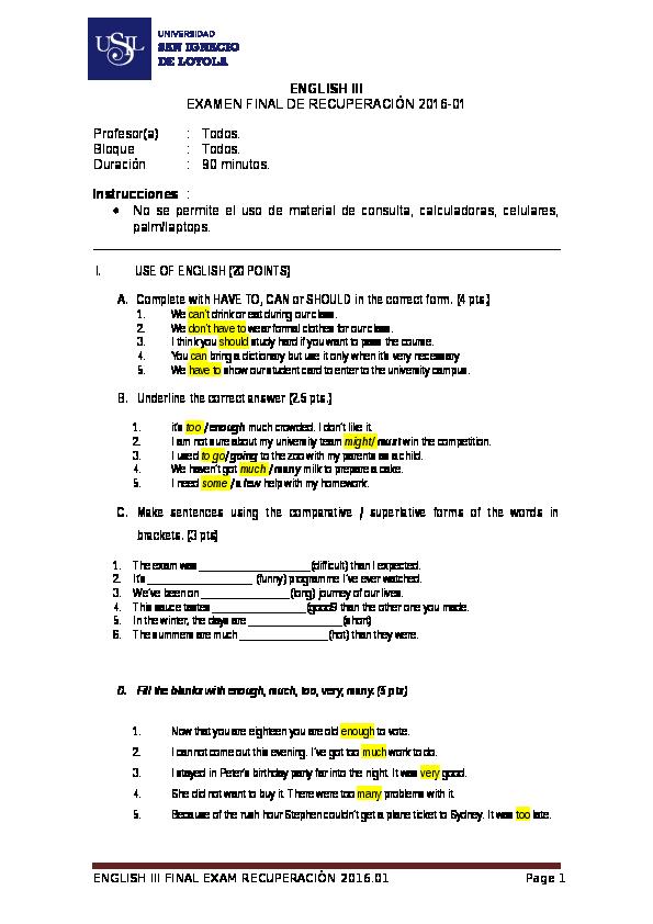 DOC) Examen Recuperacion Ingles III 2016 01 Answer Key