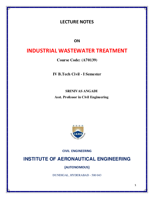 PDF) LECTURE NOTES ON INDUSTRIAL WASTEWATER TREATMENT