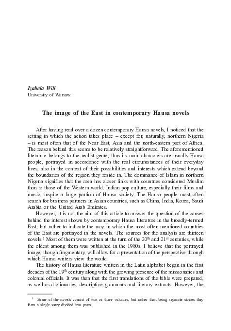 PDF) The image of the East in contemporary Hausa novels   Izabela