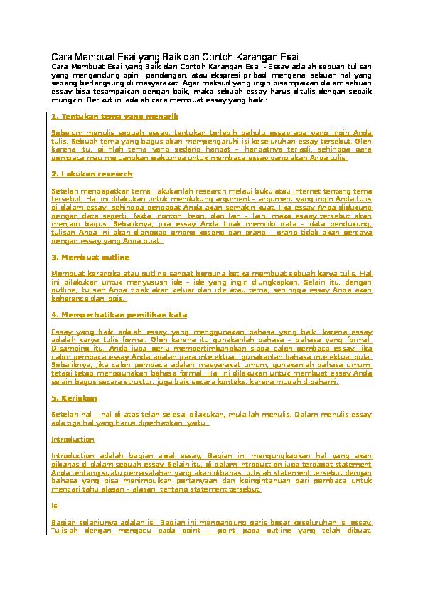 contoh essay kesehatan