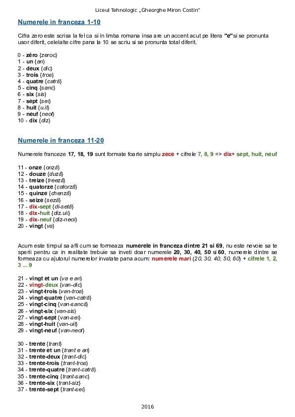 Exercitii cu numere in franceza