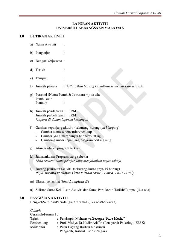 Pdf Contoh Format Laporan Aktiviti Laporan Aktiviti Universiti Kebangsaan Malaysia Nur Fatihah Academia Edu