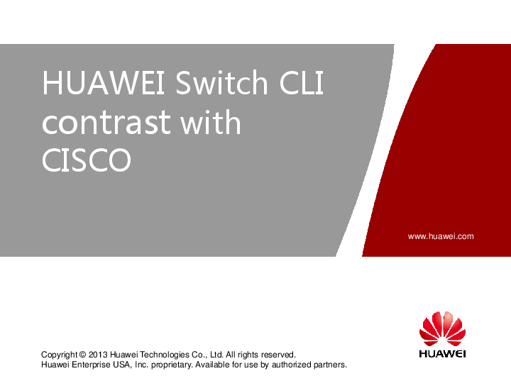 PDF) HUAWEI Switch CLI contrast with CISCO | 1Lt Surasit
