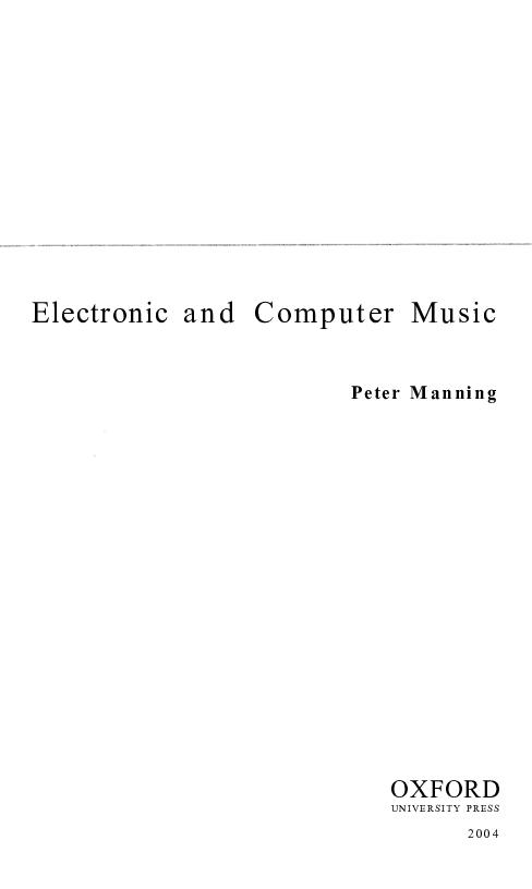 PDF) Electronic and Computer Music | Pierangelo La Spada