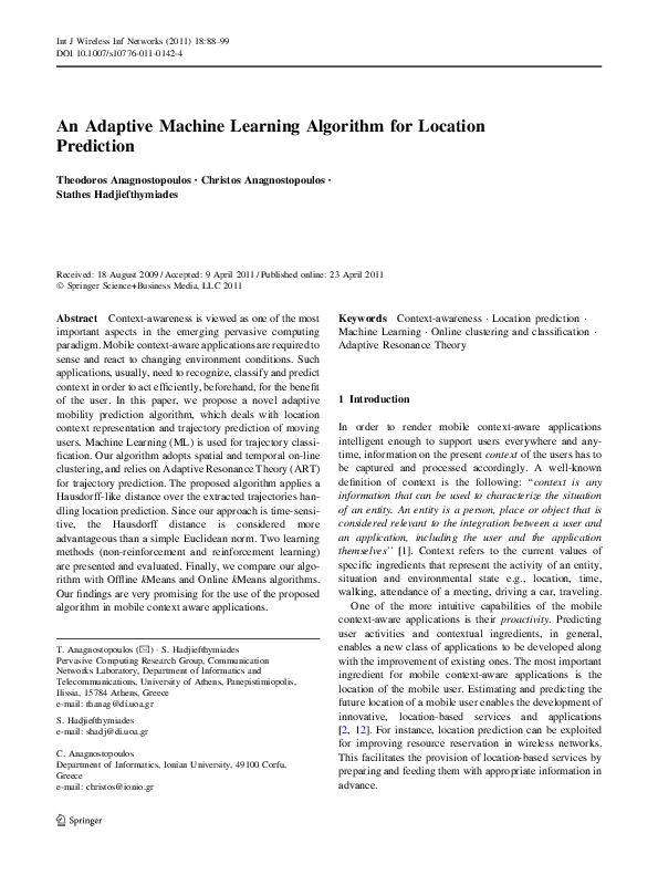 PDF) An Adaptive Machine Learning Algorithm for Location