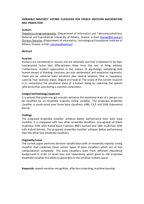 PDF) Ensemble Majority Voting Classifier for Speech Emotion