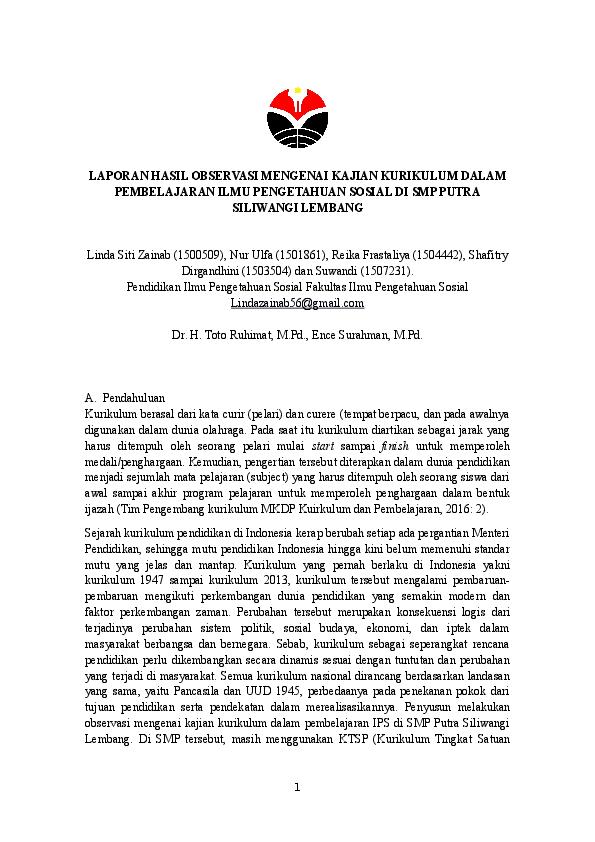 Doc Laporan Hasil Observasi Mengenai Kajian Kurikulum Dalam Pembelajaran Ilmu Pengetahuan Sosial Di Smp Putra Siliwangi Lembang Docx Linda S Zainab Academia Edu