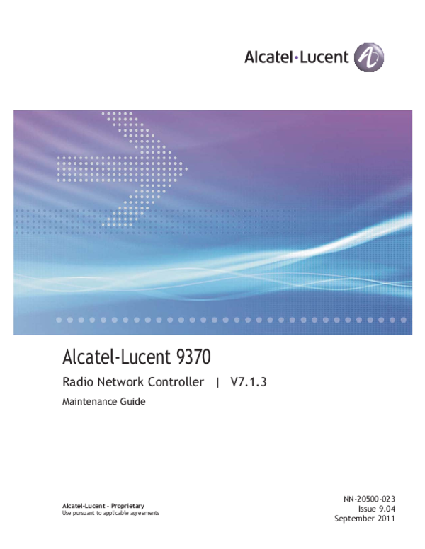 PDF) Title page Alcatel-Lucent 9370 Radio Network Controller