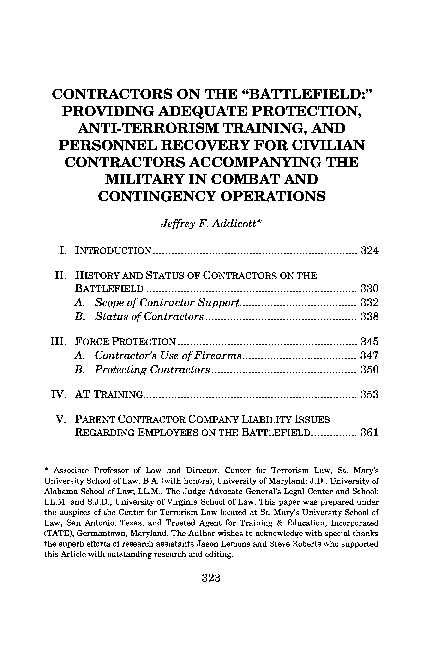 PDF) CONTRACTORS ON THE
