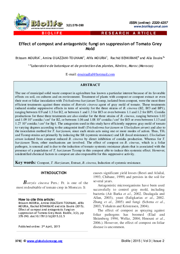 PDF Effect of post and antagonistic fungi on suppression of