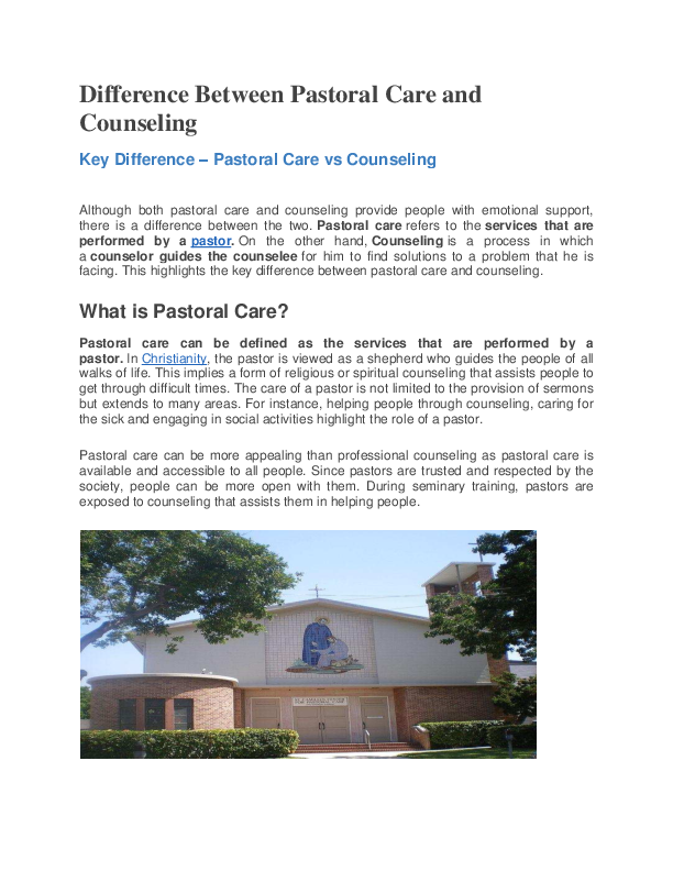 PDF) Difference Between Pastoral Care and Counseling - pdf