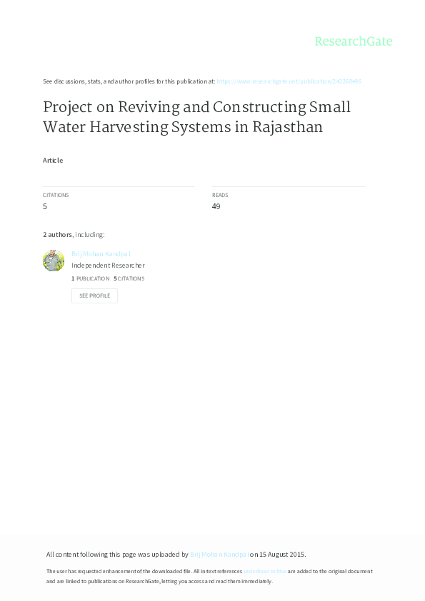 PDF) Project on Reviving and Constructing Small Water