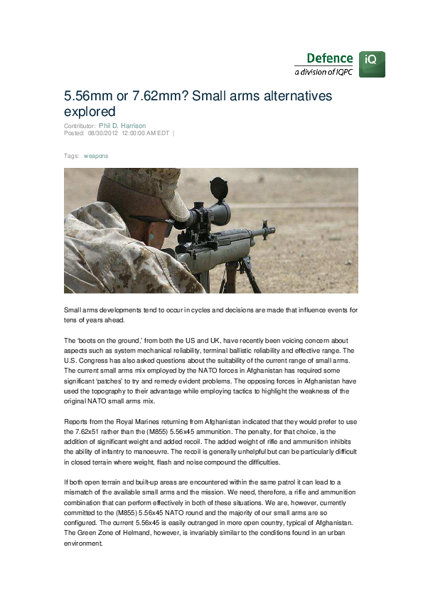 5 56mm or 7 62mm? Small Arms Alternatives Explored | Phil D Harrison
