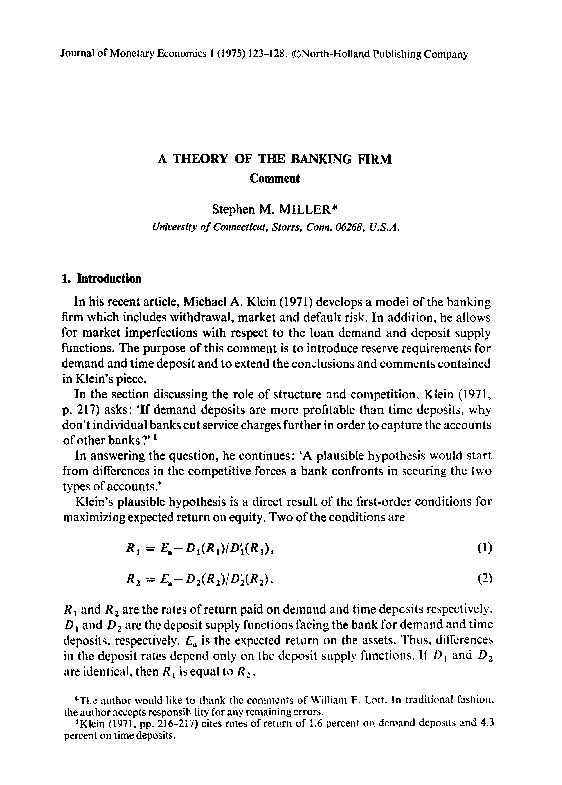PDF) A theory of the banking firm Comment | Godstime