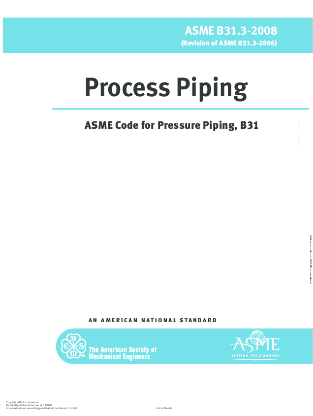 PDF) ASME B31 3-2008 Process Piping ASME Code for Pressure Piping