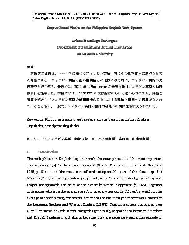 PDF) Corpus-based works on the Philippine English verb