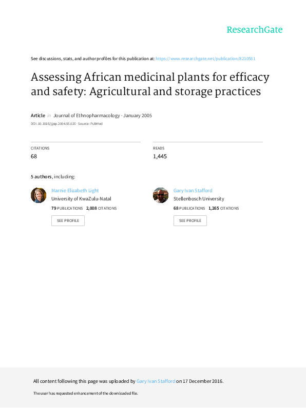 8ce87756afba PDF) Assessing African medicinal plants for efficacy and safety ...