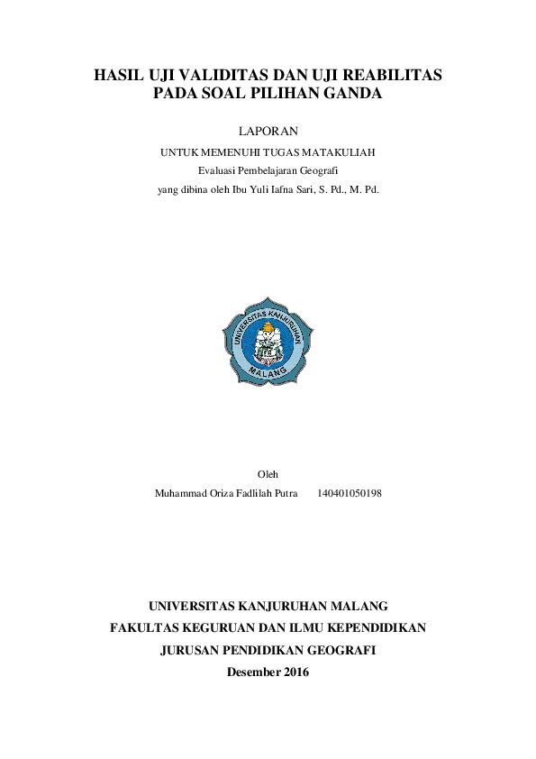 Pdf Hasil Uji Validitas Dan Uji Reabilitas Pada Soal Pilihan Ganda Oriza Fadlilah Putra Academia Edu