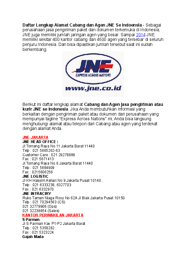 Doc Jne Cargo Parcel Express Alamat Cabang Dan Agen Jne Seluruh Indoensia 2017 Terlengkap Docx Laode Masykur Academia Edu