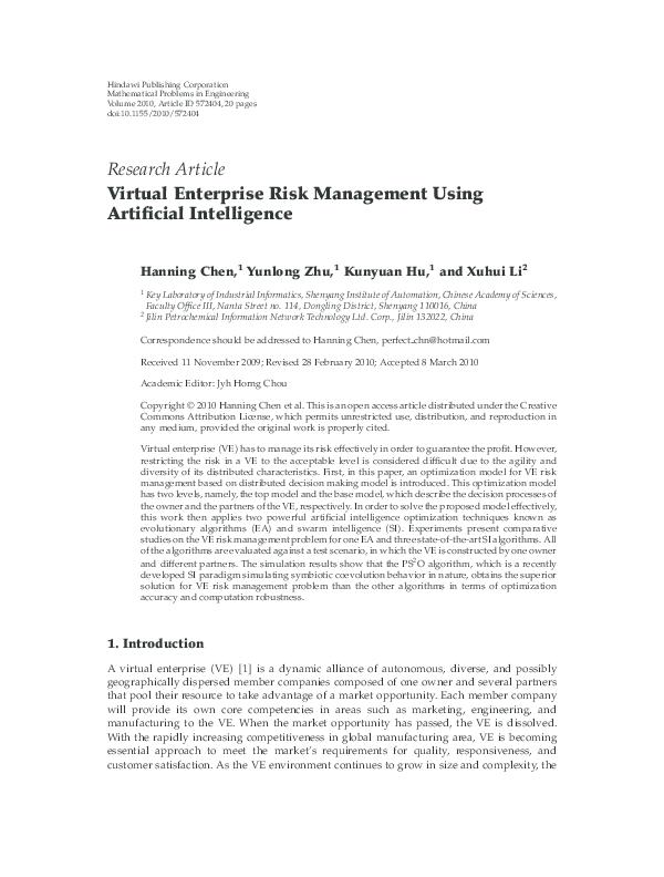 PDF) Virtual Enterprise Risk Management Using Artificial
