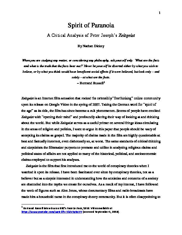 PDF) Spirit of Paranoia: A Critical Analysis of Peter