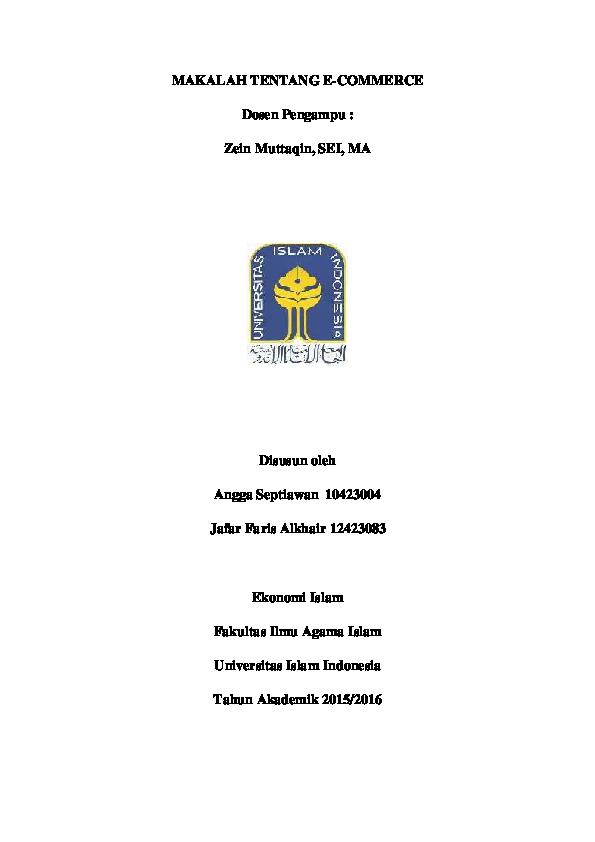 Pdf Makalah Tentang E Commerce Jafar Alkhair Academia Edu