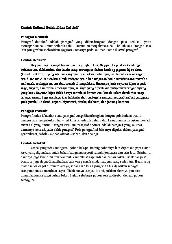 Doc Contoh Kalimat Deduktif Dan Induktif Putri S Pertiwi Academia Edu