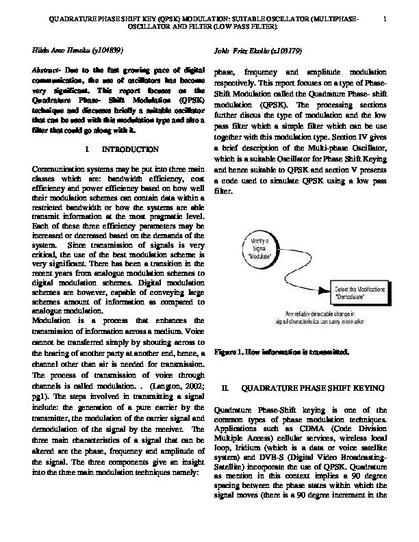 PDF) QUADRATURE PHASE SHIFT KEY (QPSK) MODULATION: SUITABLE