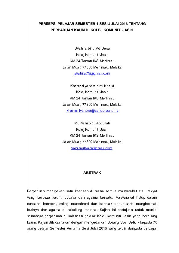 Perpaduan Research Papers Academia Edu