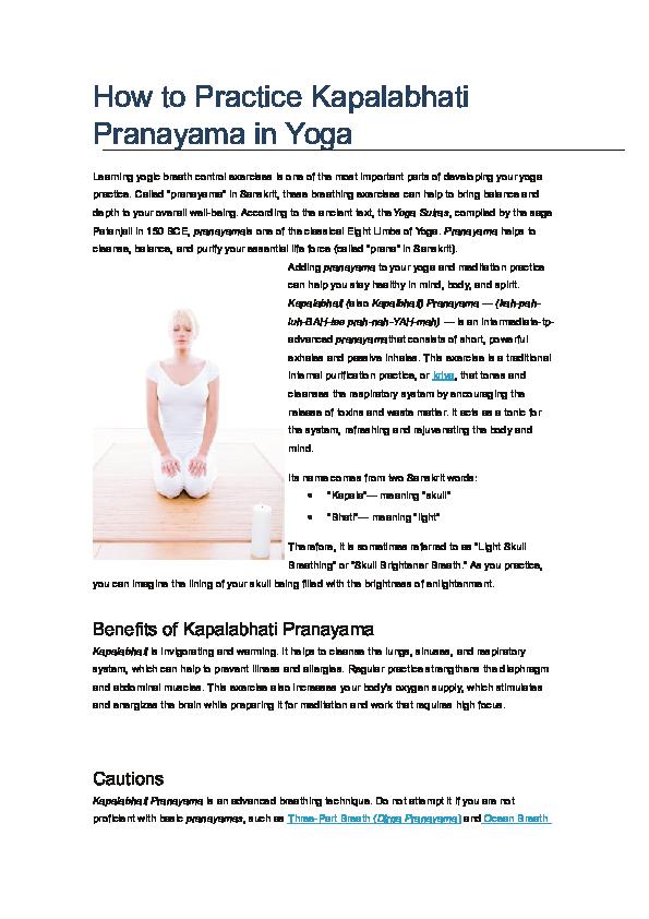 DOC) How to Practice Kapalabhati Pranayama in Yoga Breathe