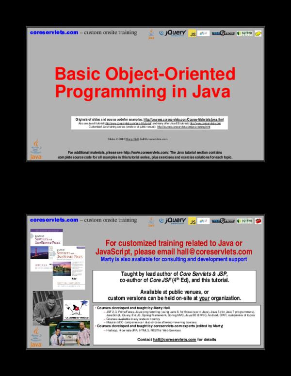 PDF) Basic Object-Oriented Programming in Java | maan twi - Academia edu