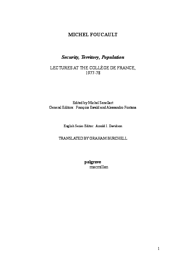 PDF) Michel Foucault-Security-Territory-Population pdf