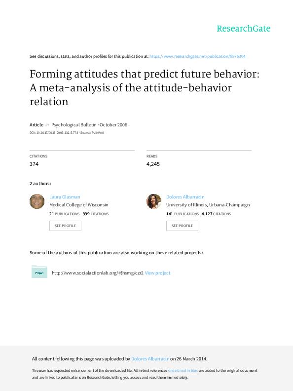 Do attitudes predict behaviour essay