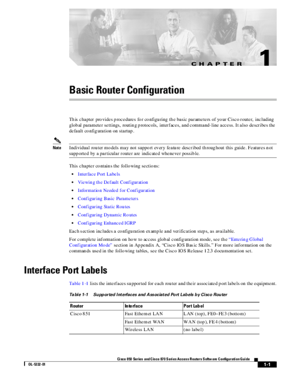 PDF) Cisco 850 Series and Cisco 870 Series Access Routers