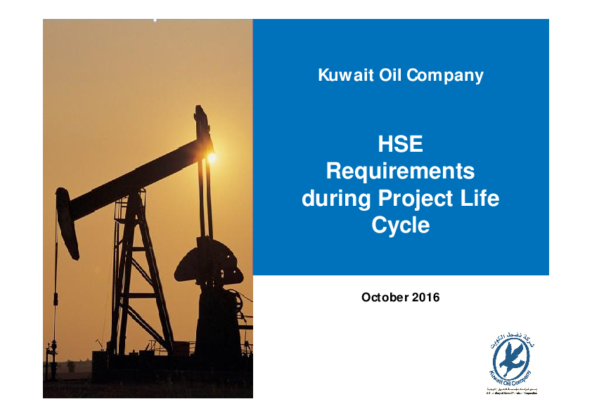 PDF) HSE Requirements during Project Life Cycle | Krishnan Rajappan